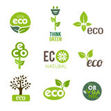 Green Eco Icons Stock Photos