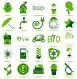 Green Eco Icons. 25 premium eco icons for your designs, print or Web project Stock Images