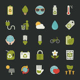 Green eco icons set Stock Photography