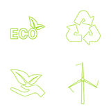Green eco icons set. Vector illustration Royalty Free Stock Image