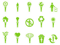 Green eco icons stick figures series Royalty Free Stock Image
