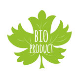 Green eco label with text Bio product into green maple leaf shape. Organic food sticker, badger, icon, label. Green eco label with text Bio product into green Royalty Free Stock Photo