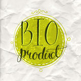 Green eco label with text bio product. Vector. Badge on the rumpled paper. Artistic design for natural products - cosmetic, food, craft Royalty Free Stock Photography