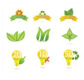 Green eco leafs and symbols set Stock Photo