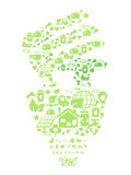 Green eco light bulb. Green light bulb filled with eco icons royalty free illustration