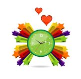 Green eco and love clock sign Stock Image