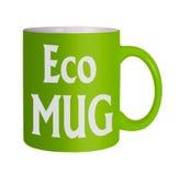 Green eco mug, white background Royalty Free Stock Photography