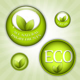 Green eco natural badges Stock Photo
