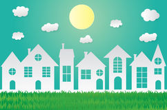 Green eco paper art design style,house with nature, ecology idea Royalty Free Stock Photos