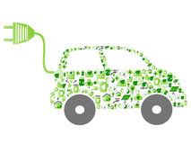 Green eco pattern icon car. Isolated green eco pattern icon car on white background Stock Photo