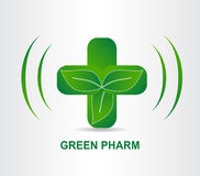 Green eco pharmacy medical cross. Logo template. Concept ecology medicine logotype Royalty Free Stock Photography