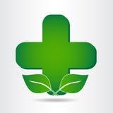 Green eco pharmacy medical cross. Logo template. Stock Image