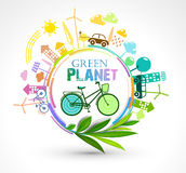 Green Eco Planet. Ecology colour concept vector illustration Royalty Free Stock Photography