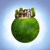 Green eco planet with house Stock Image