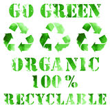 Green eco poster. Recycle logo and text. Organic, recyclable Stock Photography