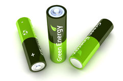 Green Eco Power Batteries Stock Image