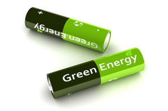Green Eco Power Batteries Stock Photography
