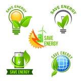 Green eco power and energy saving symbol set Royalty Free Stock Image