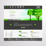 Green eco professional website, with watercolor illustration. In editable vector format Royalty Free Stock Photo