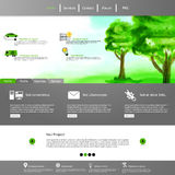 Green eco professional website, with watercolor paint illustration. Stock Photos