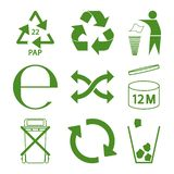 Green eco recycle and packaging sign icon set. Design royalty free illustration