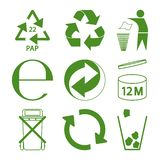 Green eco recycle and packaging sign set. Vector royalty free illustration