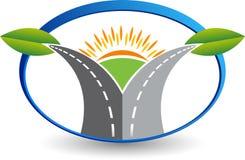 Green Eco road logo vector illustration