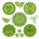 Green eco round labels set. Isolated on white background. Natural organic food tags stock illustration