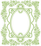 Green eco russian floral frame background Stock Photo