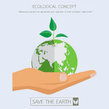 Green eco sapling on earth on flat hand. Save the earth.Eco green sapling.Green earth concept design.With flat hand Vector illustration.Earth day concept Stock Photo