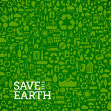 Green eco seamless background made of small ecology icons. Green ecology background made of small ecology and environmental icons - vector seamless pattern Royalty Free Stock Image