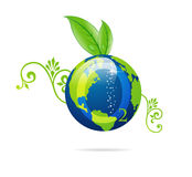 Green eco sign of blue earth Royalty Free Stock Photography