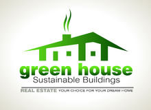 Green Eco sustainable  house icon Stock Images