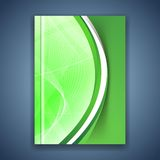 Green eco swoosh line futuristic brochure Stock Photos