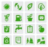 Green eco symbols. Vector green eco symbol icons set on gray Stock Image