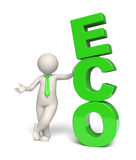 Green Eco text - 3d man Stock Photos