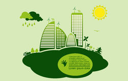 Green eco town - abstract ecology town stock illustration