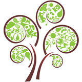 Green eco tree. Green tree with eco symbols royalty free illustration