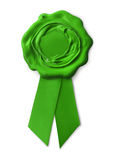 Green eco warranty seal. With ribbon, isolated on white background Royalty Free Stock Images