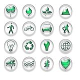Green Eco Web Icons Buttons Set Stock Photos