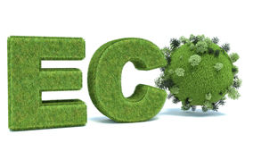 Green eco word with Earth and trees Stock Image