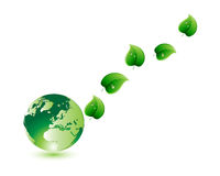 Green Eco World and Leaf. Green Eco World and Natural Life Stock Photo