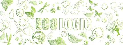 Ecologic doodles banner. Green ecologic doodles full vector large banner Royalty Free Stock Photos
