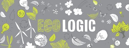 Ecologic doodles banner. Green ecologic doodles full vector large banner Royalty Free Stock Photography