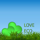 Green ecological banner with green grass and blue sky Stock Photos