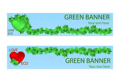 Green ecological banner with green leaves and hart Stock Photos