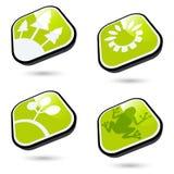 Green ecological buttons Stock Photos