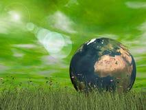 Green ecological earth concept - 3D render Stock Photos