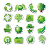 Green ecological icons. Set of green ecological or environmental icons; isolated on white background Royalty Free Stock Photo