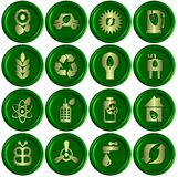 Green ecological icons. A collection of sixteen golden eco icons with a green 3D background Stock Image